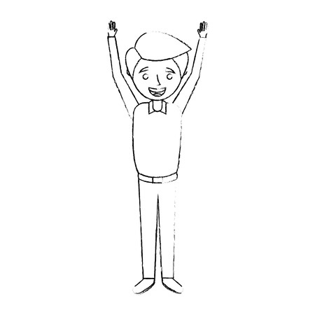 young man happy raising arms smiling sketch vector illustration Stok Fotoğraf - 90672423