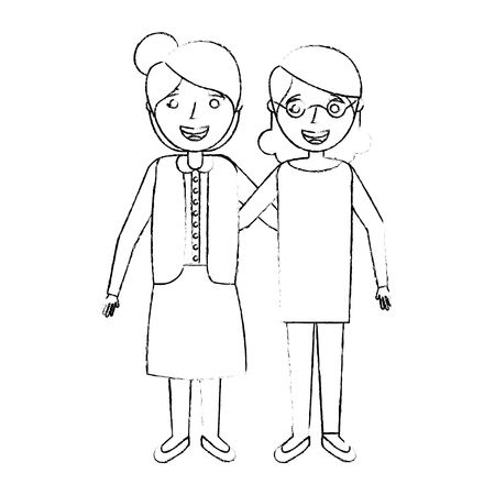 two older women friends together embracedsketch vector illustration Ilustração
