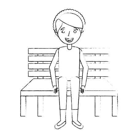 ●ベンチに座っている可愛いおばあちゃんが幸せに休んで、スケッチベクトルイラスト。  イラスト・ベクター素材