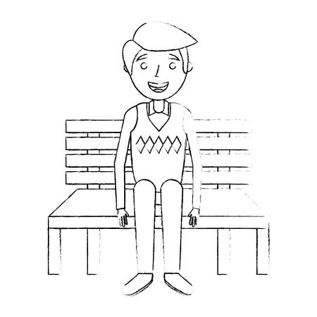 ベンチに座っているおじいちゃんおじいちゃんはスケッチベクトルイラストを待っています