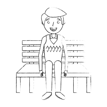 old man grandpa sitting in bench waiting sketch vector illustration