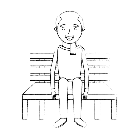 Old man grandpa sitting in bench waiting sketch, vector illustration. Illustration
