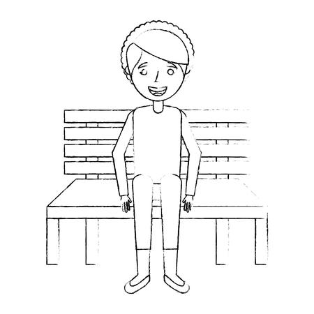 Cute grandmother sitting in bench resting happy, sketch vector illustration. Illustration