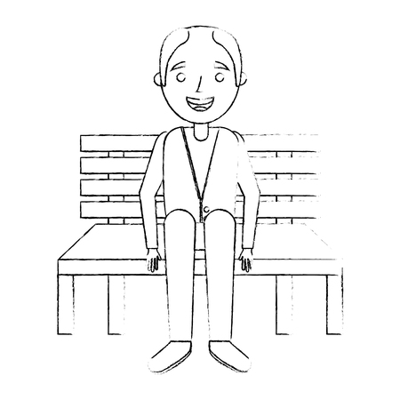 Old man grandpa sitting in bench waiting, sketch vector illustration.