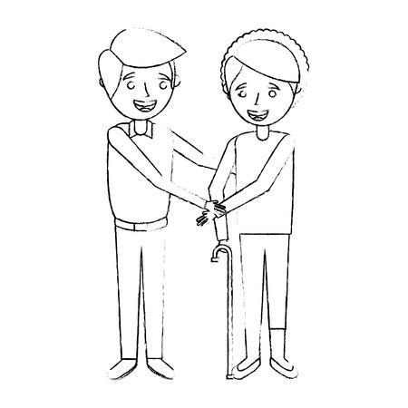 手をつないで若い男と年配の女性おばあちゃん、ベクトルイラスト。