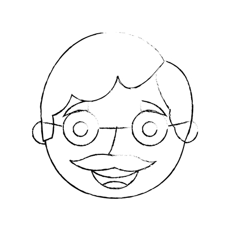 the face old man profile avatar of the grandfather sketch vector illustration