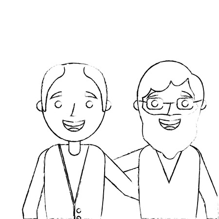 portrait cartoon of two old men embraced friends together vector illustration