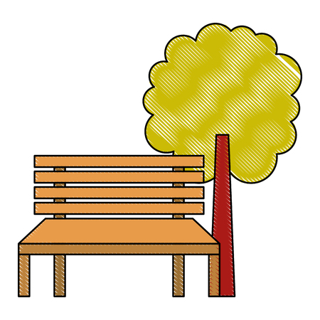 公園のベンチと木の自然風景ベクトルイラスト  イラスト・ベクター素材