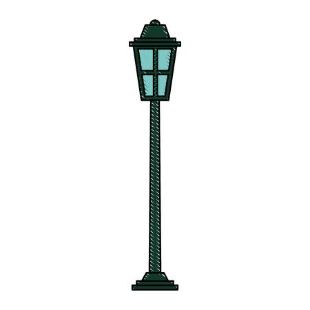park straat lamp licht glas vintage decoratie vector illustratie Stock Illustratie