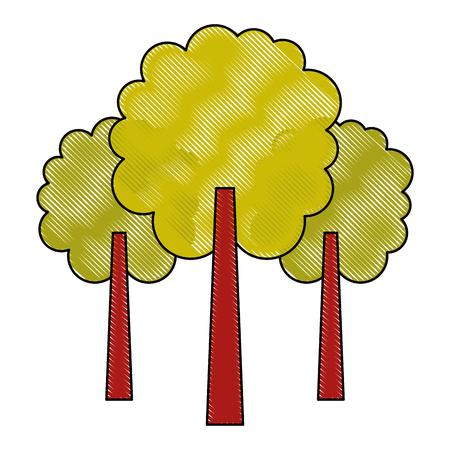 緑の3つの木の葉森林公園自然ベクトルイラスト
