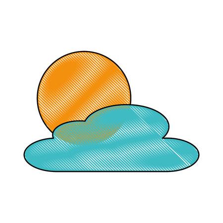 雲の日自然天気シーンベクトルイラスト
