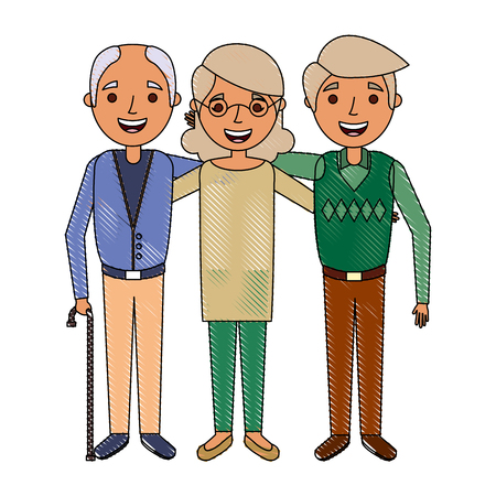 group the elderly woman and men grandparents embraced vector illustration