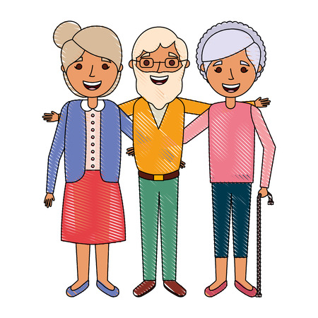 old man with women grandparents embraced together smiling vector illustration