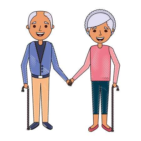 cute couple the old woman and man grandparents lovely vector illustration Ilustrace