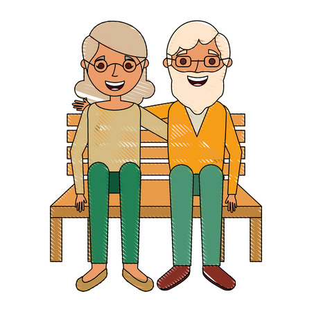 ベンチに座って幸せなカップルの祖父母の文字