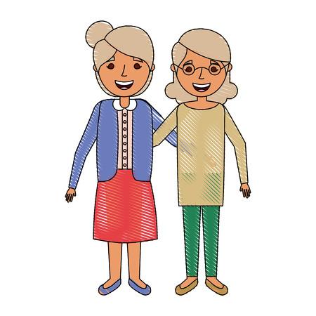 old women portrait lady grandma happy cartoon 向量圖像