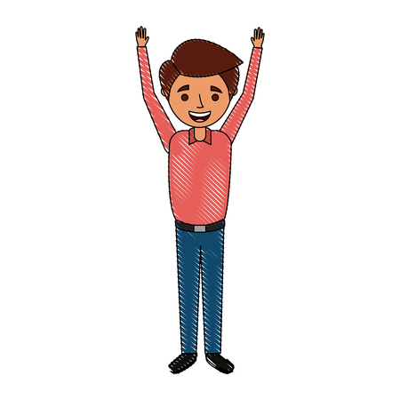 young man happy raising arms smiling vector illustration Stok Fotoğraf - 90672759