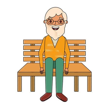 old man grandpa sitting in bench waiting