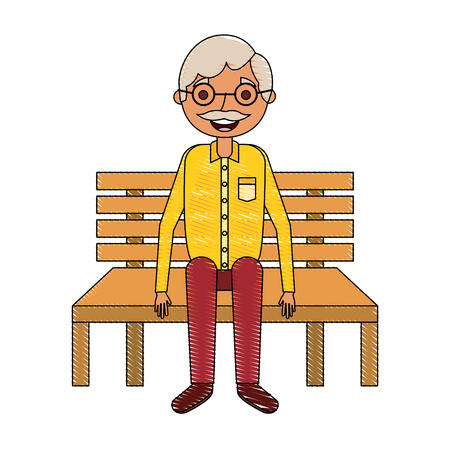 old man grandpa sitting in bench waiting