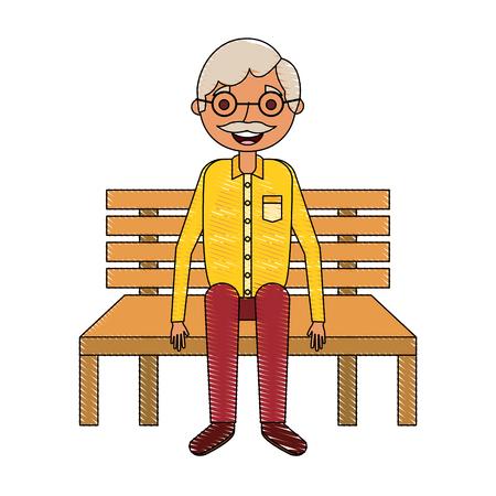 vecchio nonno seduto in panchina in attesa Vettoriali