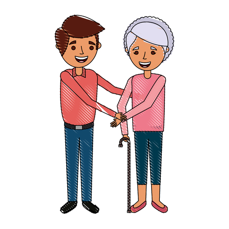 young man and old woman family people vector illustration