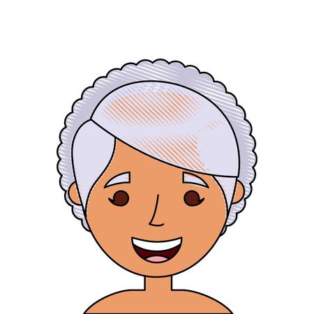 老婦人顔女性おばあちゃん漫画ベクトルイラスト  イラスト・ベクター素材