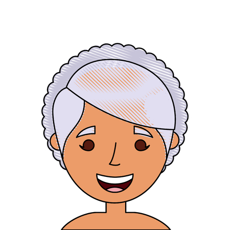 old woman face lady grandma cartoon vector illustration Çizim