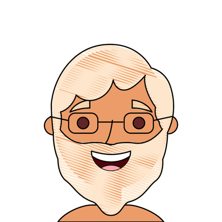 the face old man profile avatar of the grandfather vector illustration  イラスト・ベクター素材