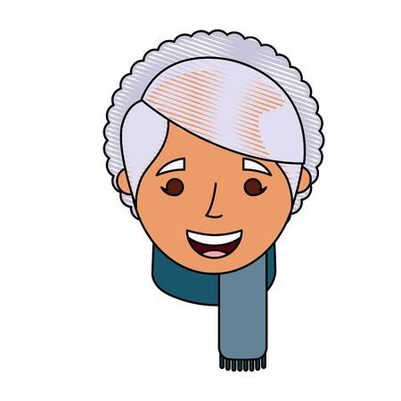 老婦人顔女性おばあちゃん漫画ベクトルイラスト 写真素材 - 90675415