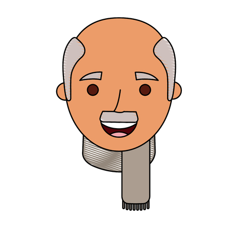 the face old man profile avatar of the grandfather vector illustration Illustration