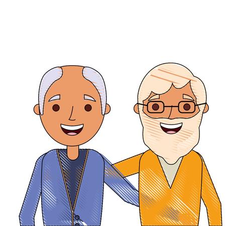 ベクトルイラストを一緒に抱きしめた2人の老人の漫画  イラスト・ベクター素材