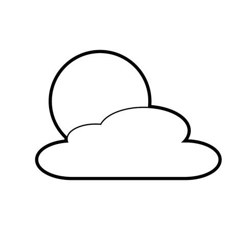 雲の日自然天気シーンベクトルイラストアウトライン  イラスト・ベクター素材