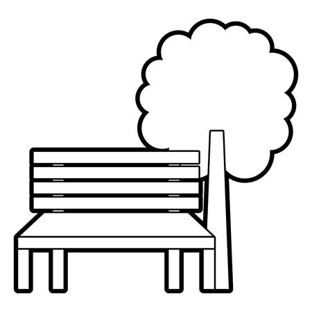公園ベンチと木の自然景観ベクトルイラストアウトライン  イラスト・ベクター素材