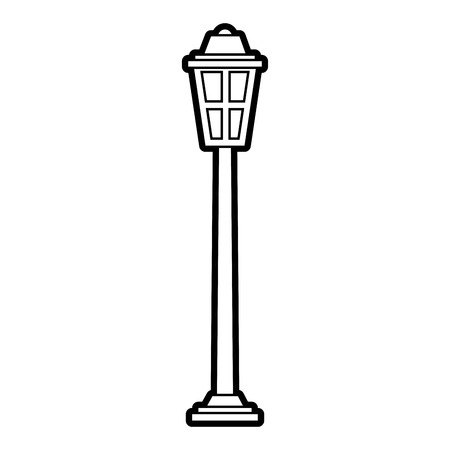 park street lamp light glass vintage decoration vector illustration outline