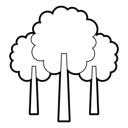 3つの木の葉森林公園自然ベクトルイラストアウトライン