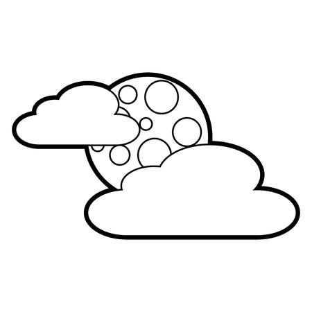 雲月夜空空自然シーンベクトルイラストアウトライン