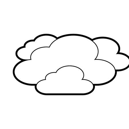 雲天気空夜景ベクトルイラストアウトライン