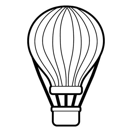 Ballon air avec panier récréation aventure vector illustration contour Banque d'images - 90690633