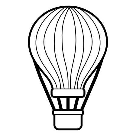 airballoon with basket recreation adventure vector illustration outline