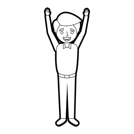 young man happy raising arms smiling vector illustration outline Ilustração