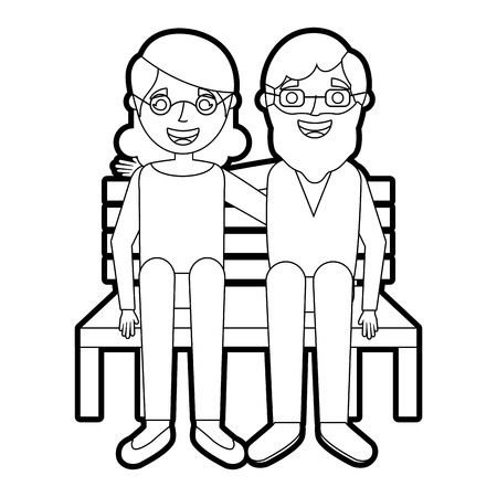 happy couple grandparents characters sitting in bench vector illustration outline Иллюстрация