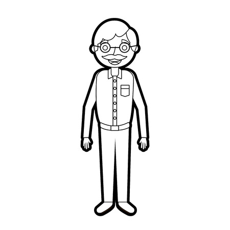 old man grandfather character standing vector illustration outline