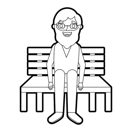 old man grandpa sitting in bench waiting vector illustration outline Фото со стока