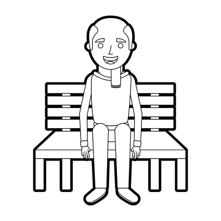 old man grandpa sitting in bench waiting vector illustration outline Иллюстрация