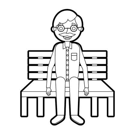 old man grandpa sitting in bench waiting vector illustration outline Иллюстрация