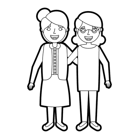 two older women friends embraced standing vector illustration outline Stock Photo