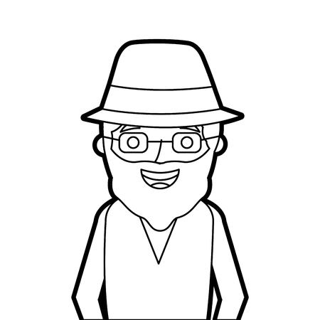 old man portrait of a pensioner grandfather character vector illustration outline