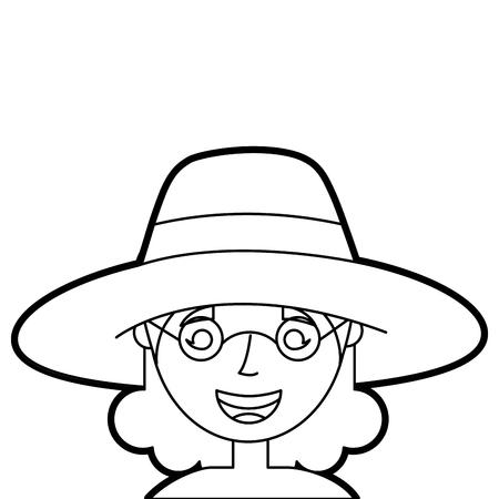 老婆顔 女性 おばあちゃん 漫画 キャラクター ベクトル イラストアウトライン
