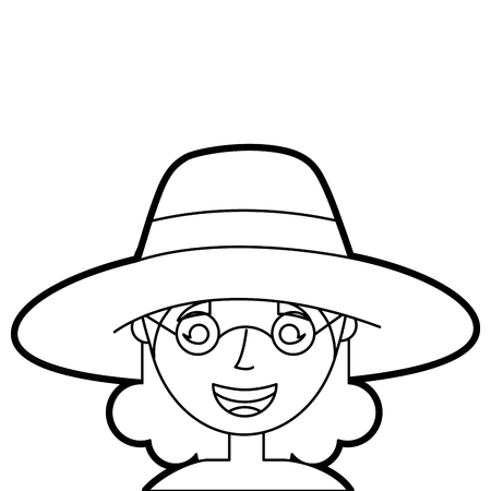 old woman face lady grandma cartoon character vector illustration outline