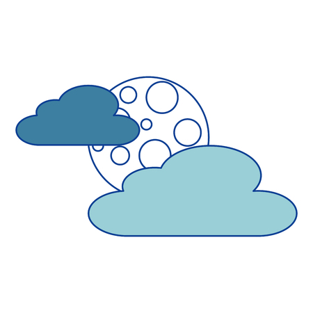 雲月夜空自然シーン 青ベクトルイラスト